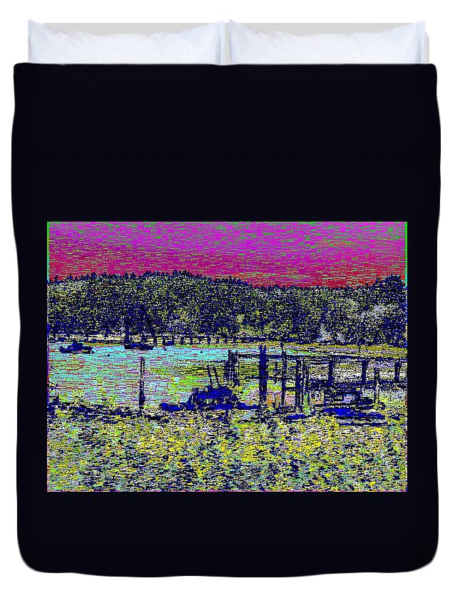 Mystery Bay Duvet Cover featuring the digital art Mystery Bay At Sunset by Tim Allen