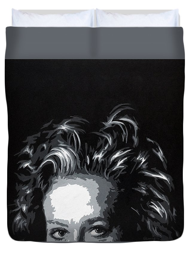 Woman Duvet Cover featuring the painting Mystery by Courtney Kenny Porto