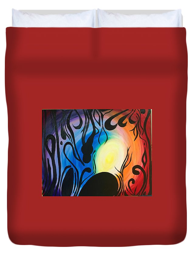 Duvet Cover featuring the painting Mystery by Dori Murakami