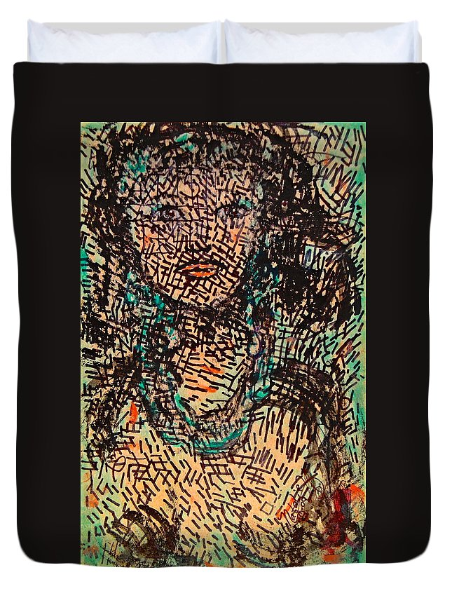Free Expressionism Duvet Cover featuring the painting Mystery Girl by Natalie Holland