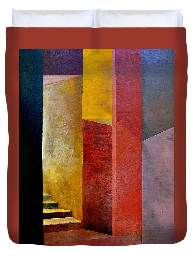 Gold Duvet Cover featuring the painting Mystery Stairway by Michelle Calkins
