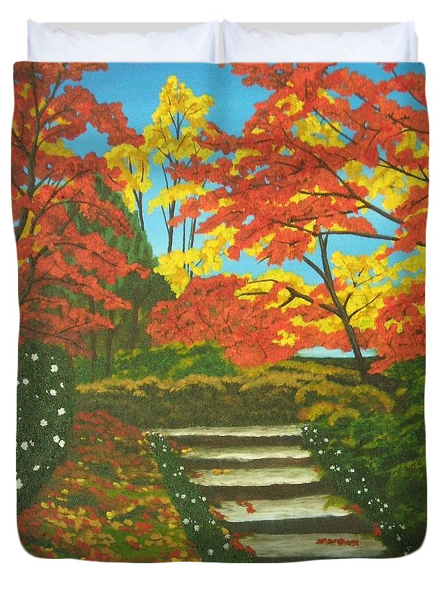 Fall Landscape Duvet Cover featuring the painting Mystery Walk by Brandy House