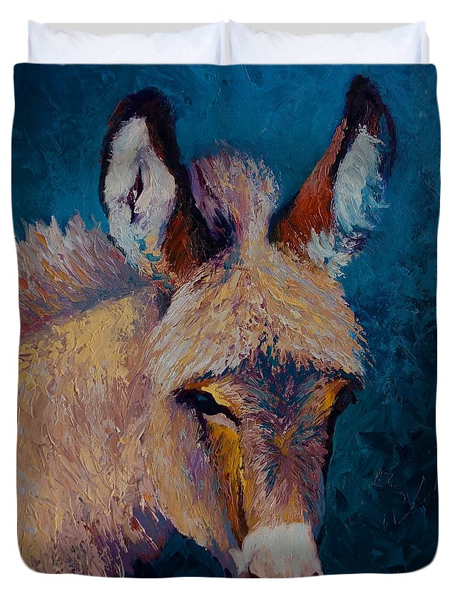 Burro Duvet Cover featuring the painting Mystic by Marion Rose