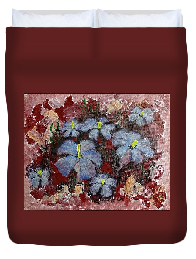 Duvet Cover featuring the painting Mystic Bloom by Vi Sarancha