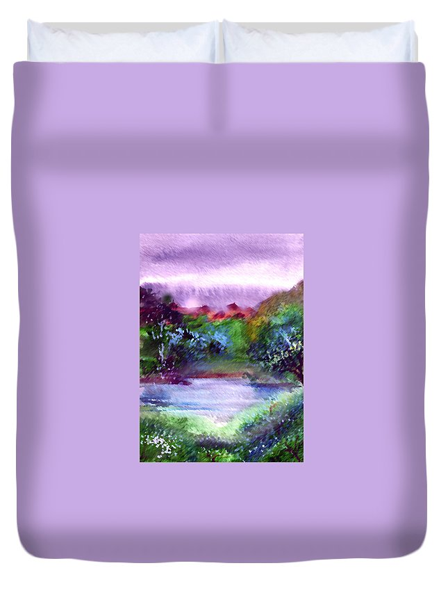 Lake Duvet Cover featuring the painting Mystic Lake by Anil Nene