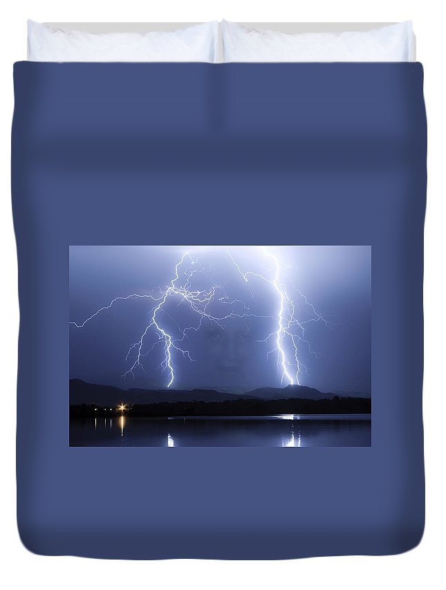 Lightning Duvet Cover featuring the photograph Mystic Lightning Storm by James BO Insogna
