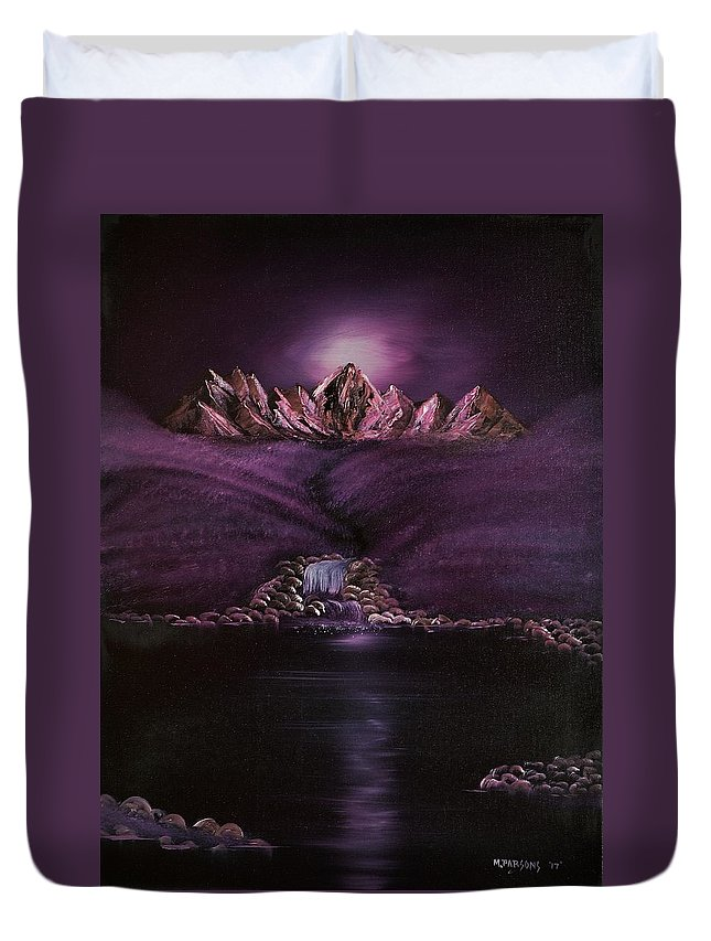 Purple Duvet Cover featuring the painting Mystic Mountains by Mike Parsons