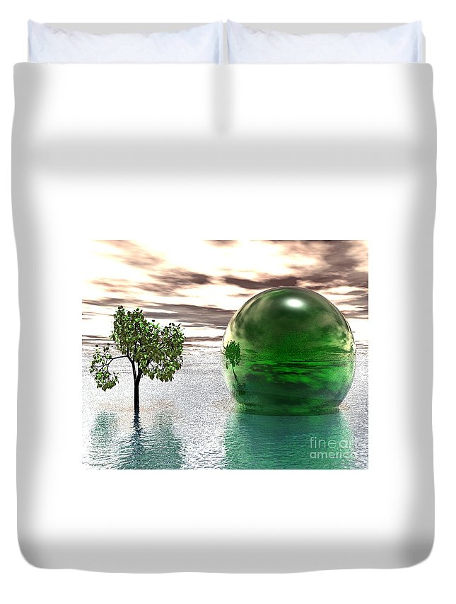 Surreal Duvet Cover featuring the digital art Mystic Surreal In Green by Oscar Basurto Carbonell