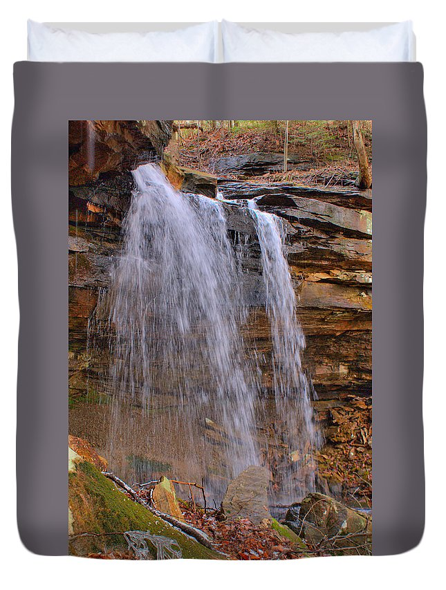 Mystic Duvet Cover featuring the photograph Mystic Waterfall by Douglas Barnett