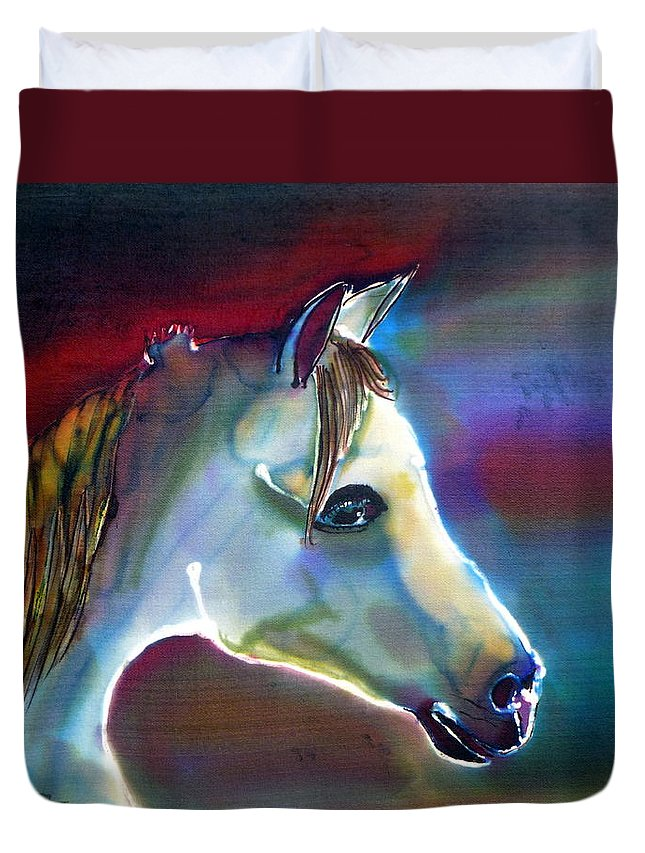 Horse Duvet Cover featuring the painting Mystical by Beverly Johnson