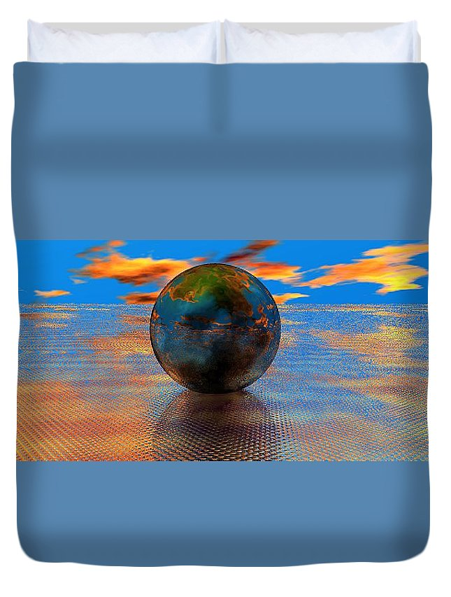 Mystical Duvet Cover featuring the digital art Mystical Blue by Oscar Basurto Carbonell