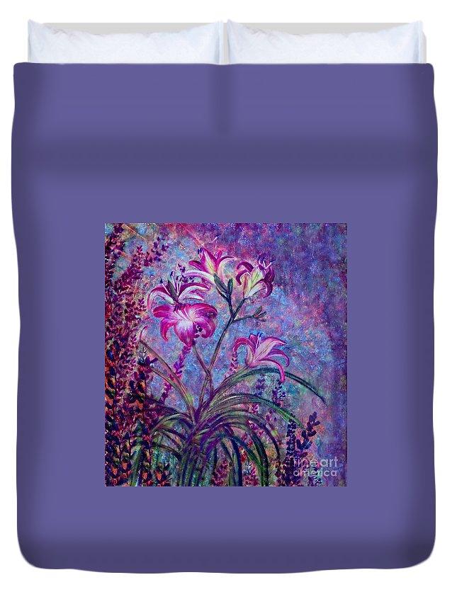 Anne Alfaro Duvet Cover featuring the painting Mystical Garden by Anne Alfaro