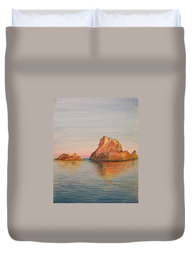 Island Duvet Cover featuring the painting Mystical Island Es Vedra by Lizzy Forrester