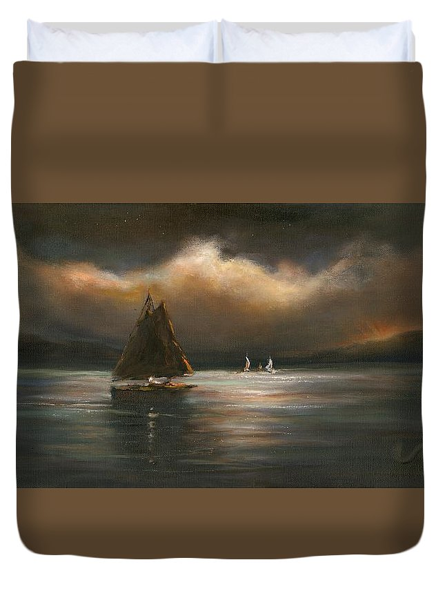 Sailboats Duvet Cover featuring the painting Mystical Journey by Sharon Abbott-Furze