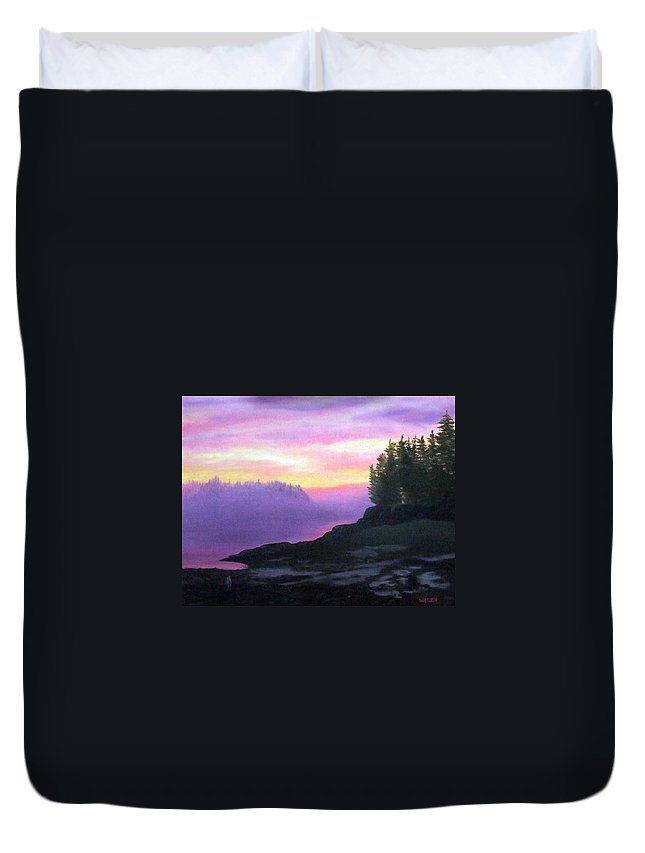 Sunset Duvet Cover featuring the painting Mystical Sunset by Sharon E Allen