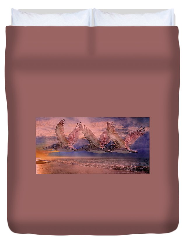 Pelican Duvet Cover featuring the photograph Mystical Trio by Betsy Knapp