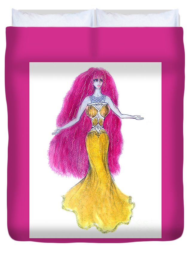 Mzia Duvet Cover featuring the painting Mzia Meisouri. Beauty Girl From Space by Sofia Metal Queen
