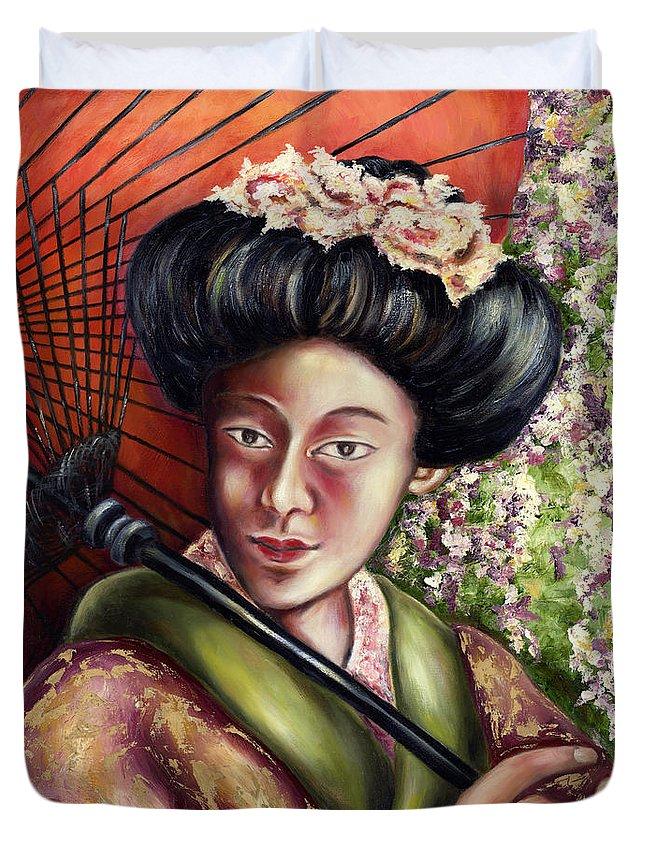 Japanese Duvet Cover featuring the painting Nadeshiko by Hiroko Sakai