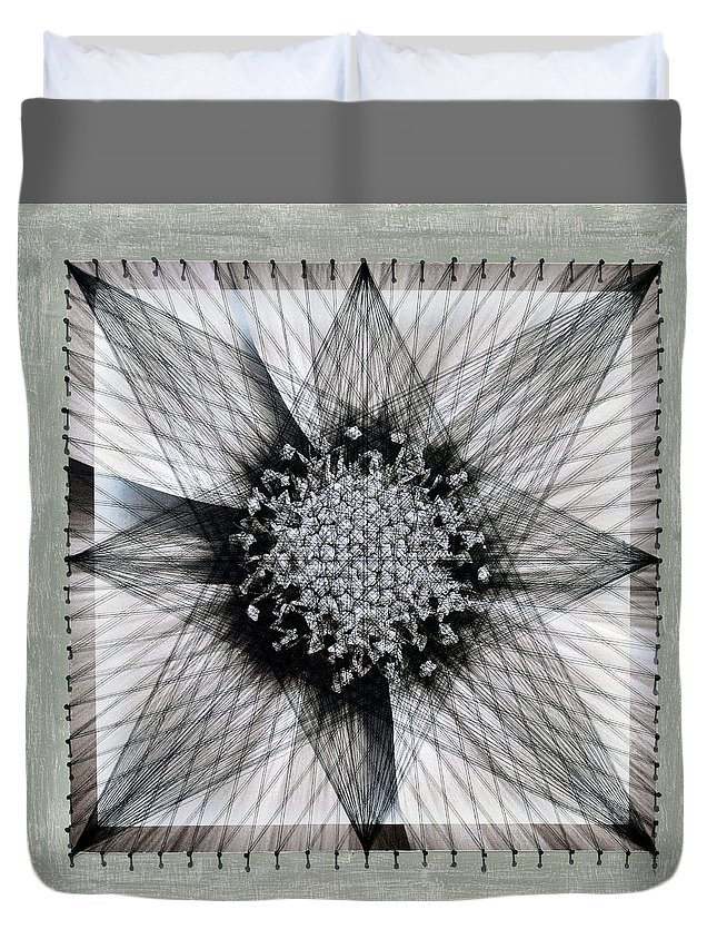 Mixed Media Duvet Cover featuring the mixed media Nailed It Series No 5 by Sumit Mehndiratta