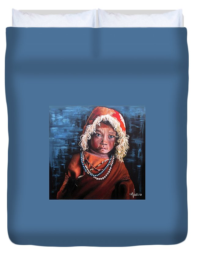 Oil Duvet Cover featuring the mixed media Naira by Angel Art and Design