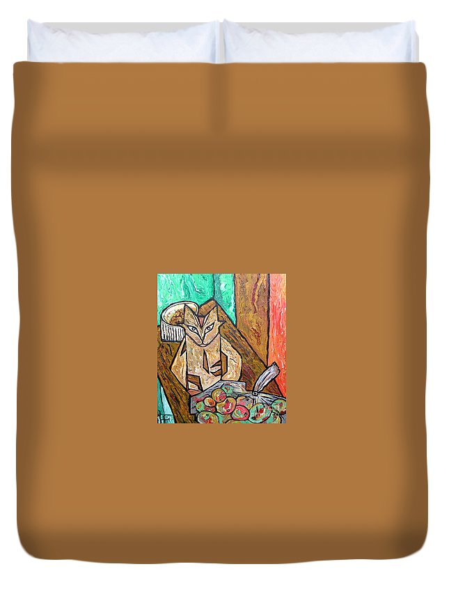 Cat Duvet Cover featuring the painting Naive Cat With Apples by Heather Lennox