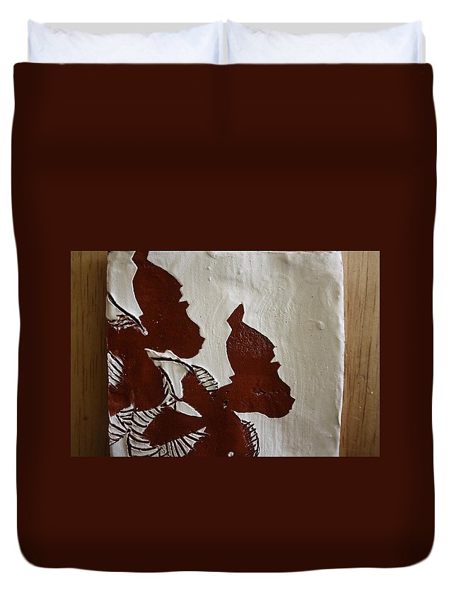 Jesus Duvet Cover featuring the ceramic art Nakato And Babirye - Twins 2 - Tile by Gloria Ssali