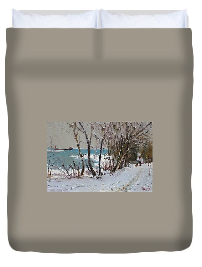 Lake Shore Mississauga Duvet Cover featuring the painting Naked Trees By The Lake Shore by Ylli Haruni