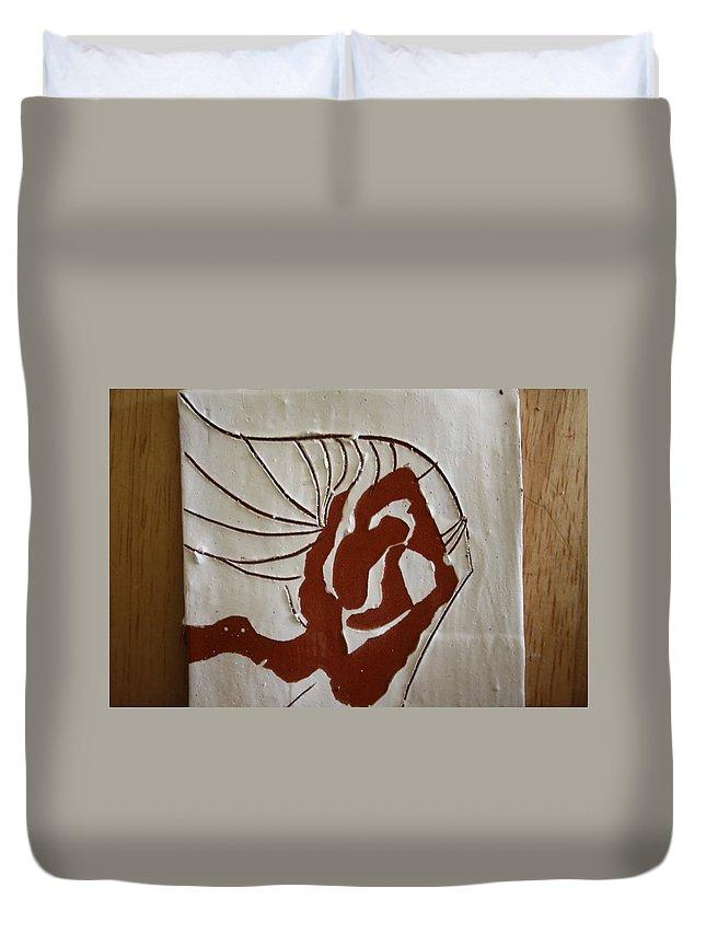 Jesus Duvet Cover featuring the ceramic art Nakimuli - Tile by Gloria Ssali