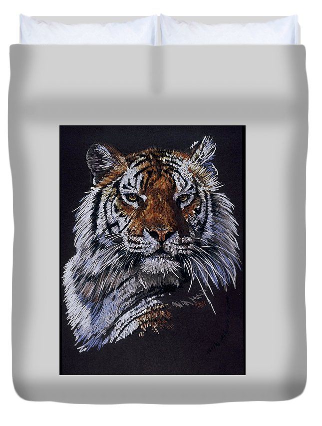 Tiger Duvet Cover featuring the drawing Nakita by Barbara Keith