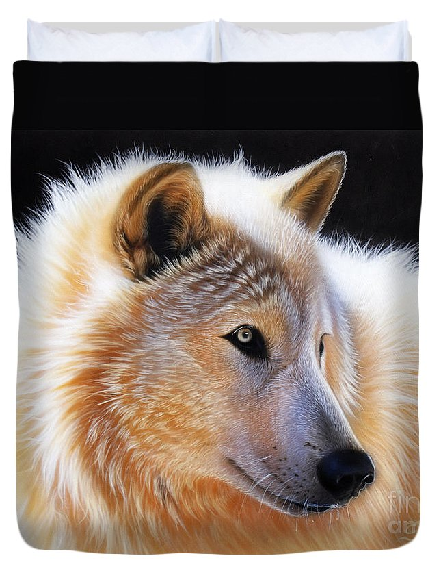 Acrylic Duvet Cover featuring the painting Nala by Sandi Baker