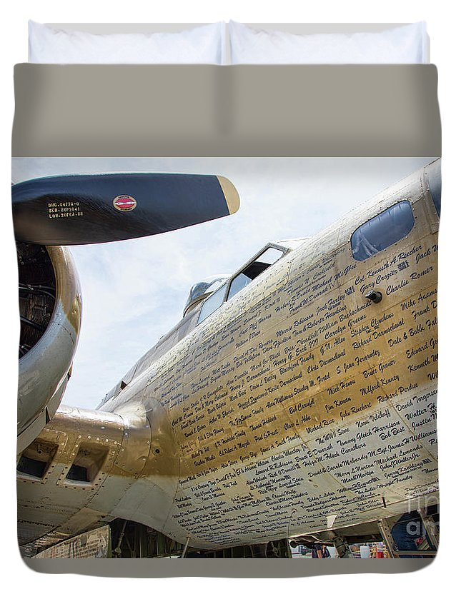B-17 Duvet Cover featuring the photograph Names Pilots B-17 by Chuck Kuhn