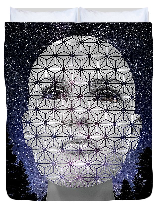 Digital Duvet Cover featuring the digital art Namma by Keith Dillon