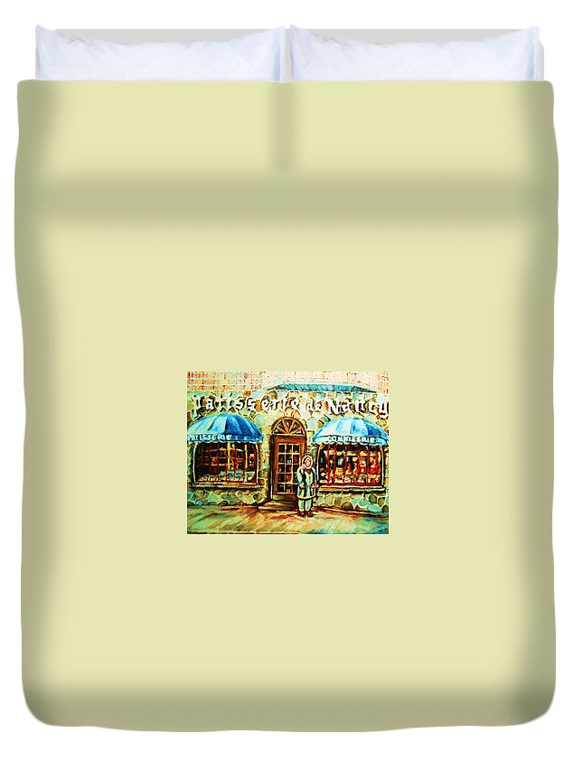 Bakery Shops Duvet Cover featuring the painting Nancys Fine Pastries by Carole Spandau