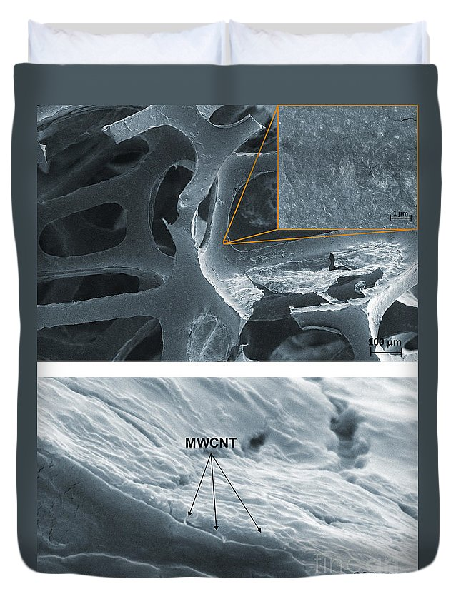 Science Duvet Cover featuring the photograph Nanotubes, Flame-resistant Coating, Sem by Kim/NIST
