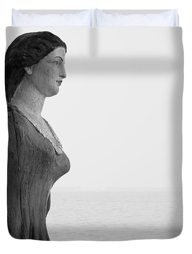 Nantucket Duvet Cover featuring the photograph Nantucket Figurehead by Charles Harden