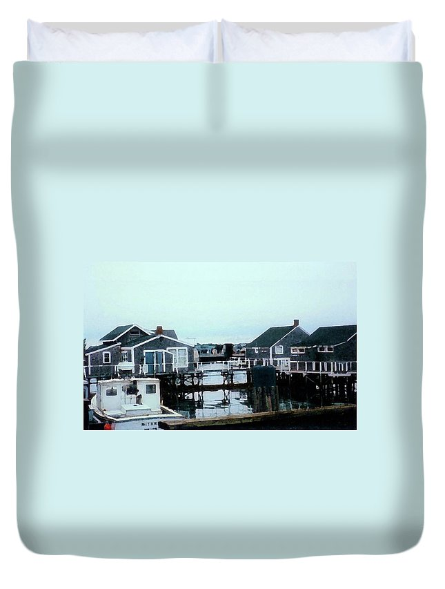 Harbor Duvet Cover featuring the mixed media Nantucket Harbor by Desiree Paquette