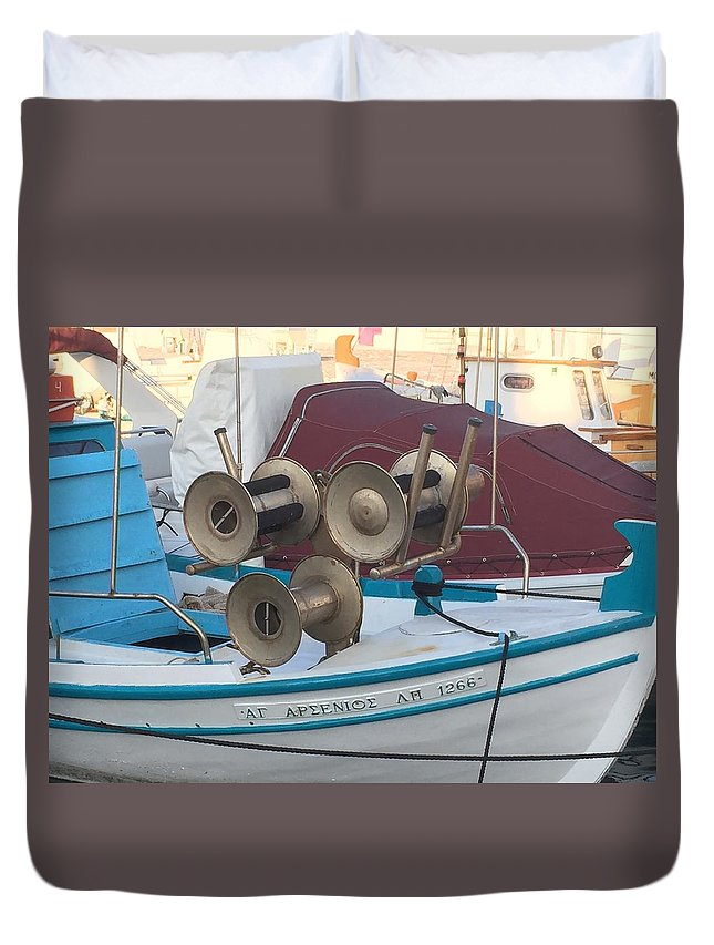 Colette Duvet Cover featuring the photograph Naoussa Boat Paros Island Greece by Colette V Hera Guggenheim