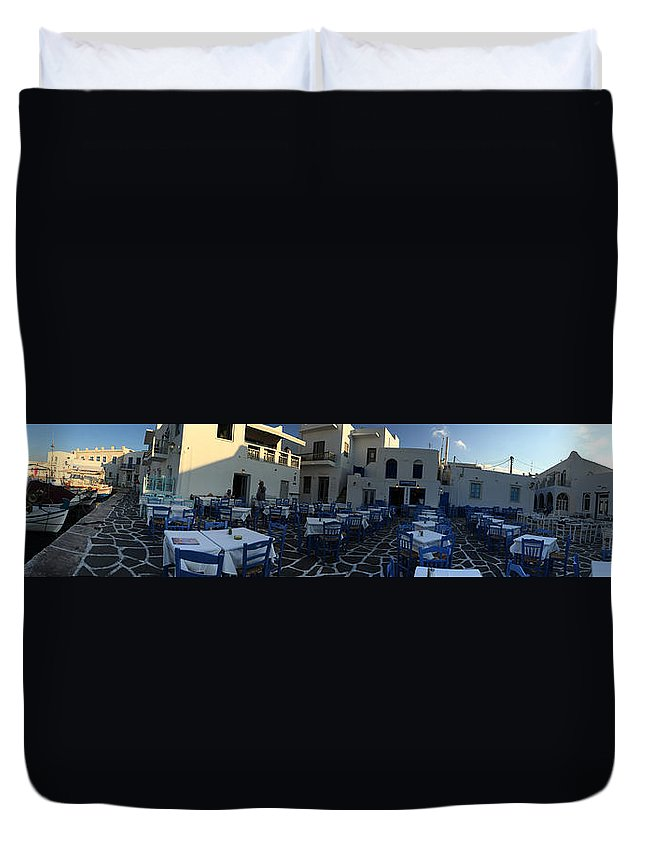 Colette Duvet Cover featuring the photograph Naoussa Village Paros Greece by Colette V Hera Guggenheim