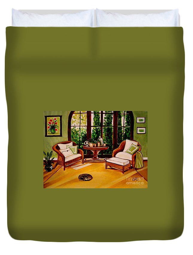 Cats Duvet Cover featuring the painting Nap Time by Elizabeth Robinette Tyndall