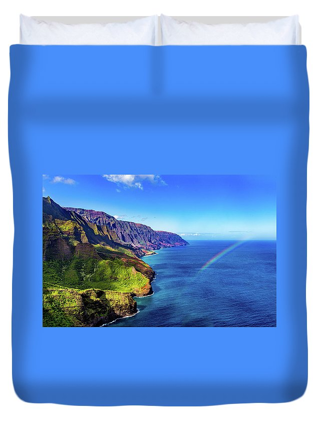 Napali Duvet Cover featuring the photograph Napali Rainbow by Drew Sulock