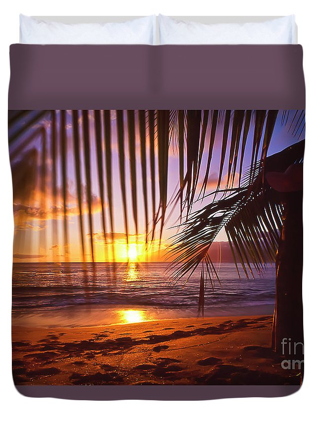 Sunset Duvet Cover featuring the photograph Napili Bay Sunset Maui Hawaii by Jim Cazel