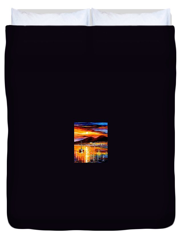 Afremov Duvet Cover featuring the painting Naples - Sunset Above Vesuvius by Leonid Afremov