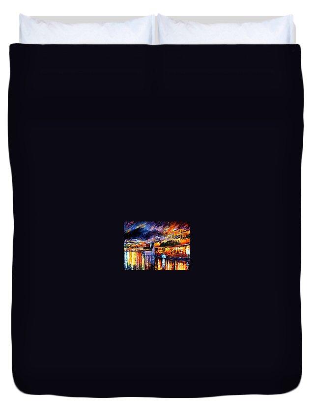 Afremov Duvet Cover featuring the painting Naples - Vesuvius by Leonid Afremov