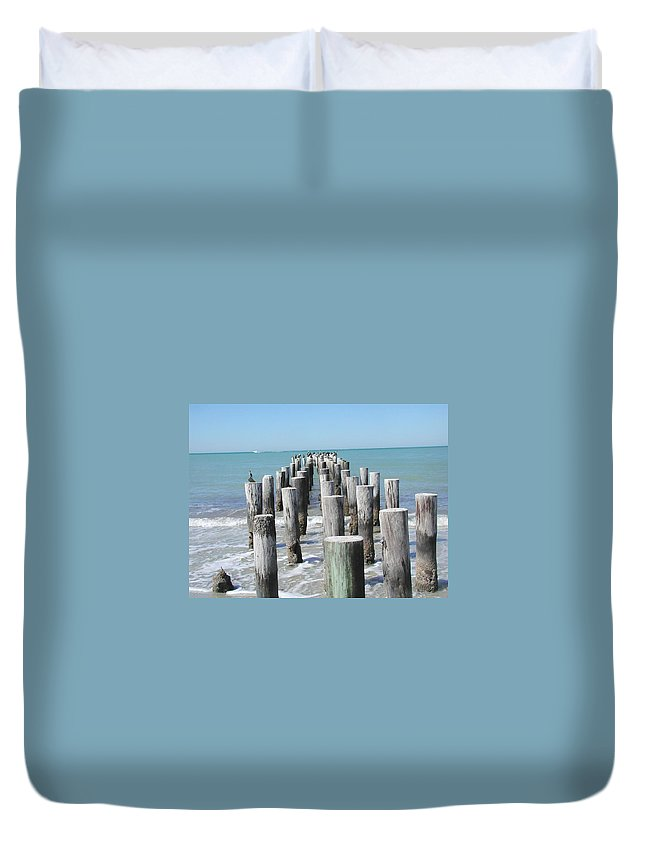 Ocean Duvet Cover featuring the photograph Naples Pier by Tom Reynen