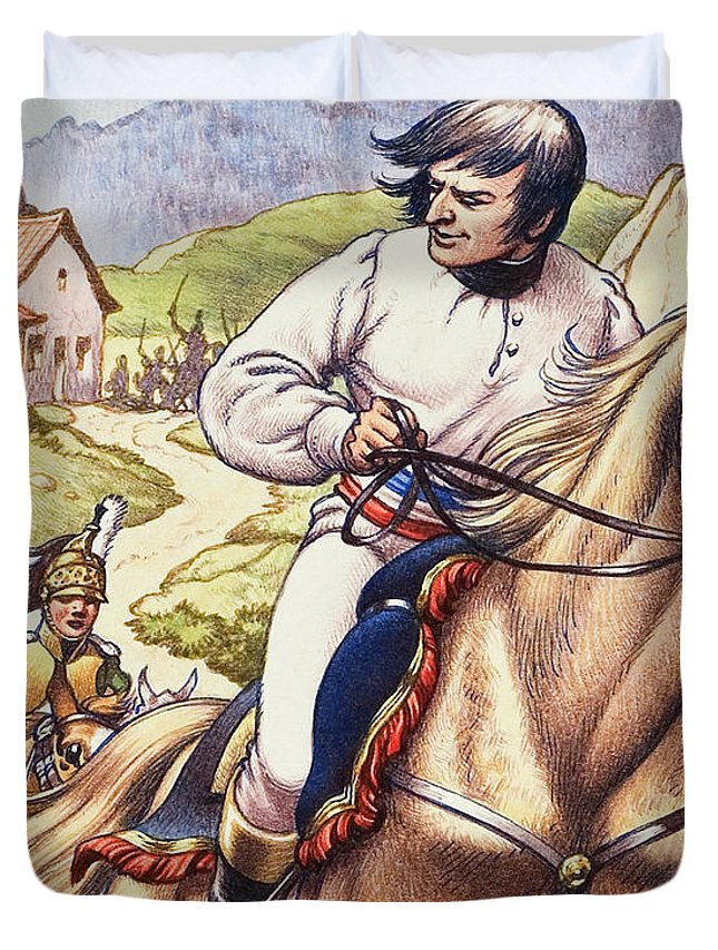 Napoleon Duvet Cover featuring the painting Napoleon Making A Narrow Escape With An Austrian Cavalry Patrol Close On His Heels by Pat Nicolle