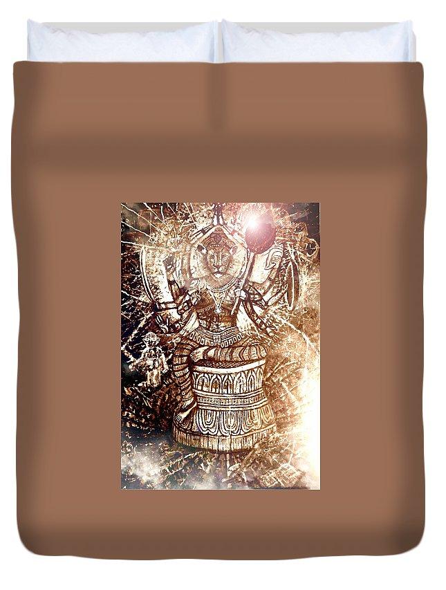 Narasimha Duvet Cover featuring the mixed media Illuminated Narasimha Dev In Sepia by Michael African Visions