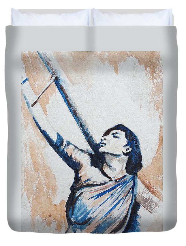 Duvet Cover featuring the painting Nargis Bollywood Star by Usha Shantharam