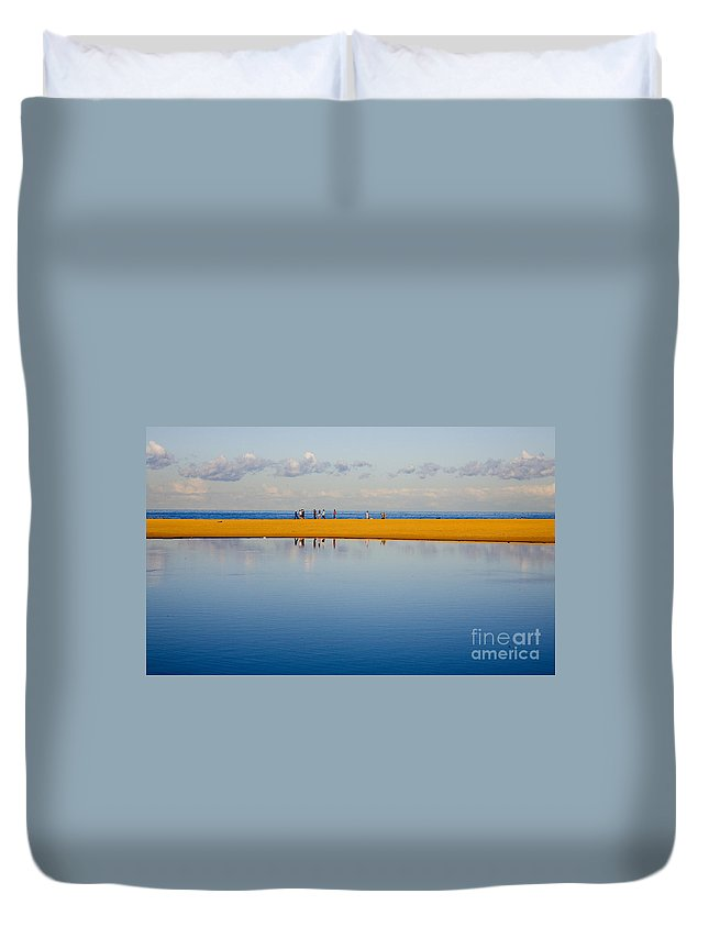 Dunes Lowry Sand Sky Reflection Sun Lifestyle Narrabeen Australia Duvet Cover featuring the photograph Narrabeen Dunes by Sheila Smart Fine Art Photography