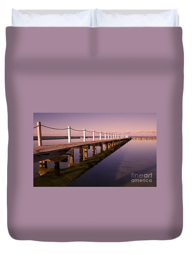 Narrabeen Sydney Sunrise Wharf Walkway Duvet Cover featuring the photograph Narrabeen sunrise by Sheila Smart Fine Art Photography