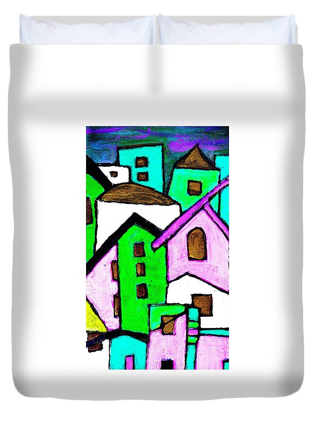 Village Duvet Cover featuring the painting Narrow Village by Wayne Potrafka